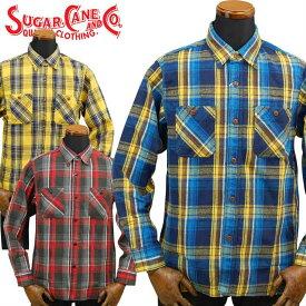 シュガーケーン SUGAR CANE ツイルチェックワークシャツ「SC28238」