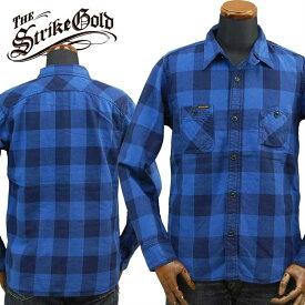 ストライクゴールド THE STRIKE GOLD インディゴネルチェックワークシャツINDIGO NEL CHECK WORK SHIRTSネルシャツ「SGS018」