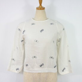 mina / ミナ | choucho バックボタン刺繍ブラウス | オフホワイト | レディース