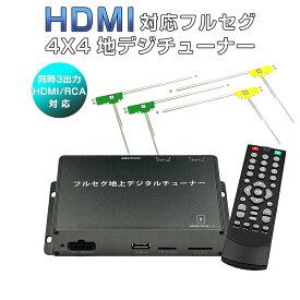 地デジチューナー カーナビ ワンセグ フルセグ HDMI 4x4 高性能 4チューナー 4アンテナ 高画質 自動切換 150km/hまで受信 古い車載TVやカーナビにも使える 12V/24V フィルムアンテナ miniB-CASカード付き 1年保証