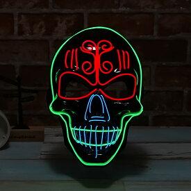 光るマスク ドクロ 電池ボックス付 ELマスク 怖い ハロウィン ガイコツ ホラーマスク 仮面 お面 かっこいい ダンスマスク 衣装 コスプレ DJ クラブ 学園祭 コスチューム ELワイヤー オペラ座の怪人 ヴェネチアンマスク 仮面舞踏会