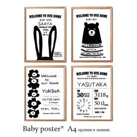 【内祝い】白い額縁付き!出産祝いに!ベビーポスター 1人用 オーダーメイド アートポスター 北欧 A4サイズ 名前入り♪