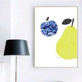 アートポスター 北欧 青いりんごとしずくの洋ナシ A2サイズ 420×594mm
