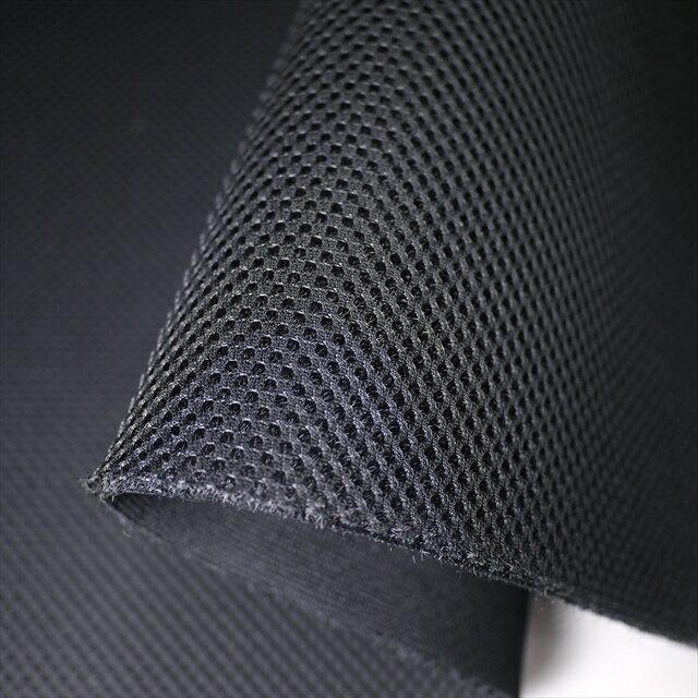 ニット生地 ダブルラッセルメッシュ(抗菌無し)ブラック 4〜5mm厚ハードタイプ150cm巾 クッション性 ニット