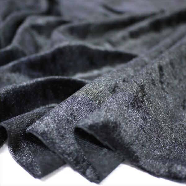 クラッシュベロア ブラック 145cm巾 ニット 生地