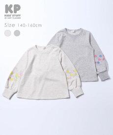 KP(ケーピー)袖刺繍ミニ裏毛トレーナー(140-160cm)/KP ニットプランナー 2021SS 春夏新作