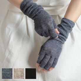 【送料無料】リネン 指先フリー アームカバー ショート丈 フリーサイズ 総丈約33cm 日本製 全3色 UV対策 涼感 natural sunny