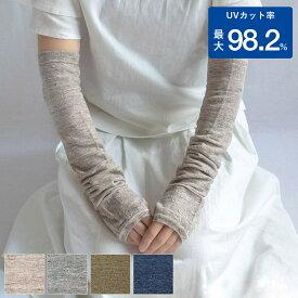 UVカット リネン アームカバー 約50cm ユニセックス メール便送料無料 レディース メンズ メッシュ 紫外線 冷房対策 涼感 麻 UVカット率 最大98.2%
