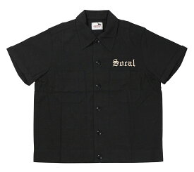 GANGSTERVILLE [-SOCAL - S/S SLICK SHIRTS- BLACK size.S,M,L,XL]