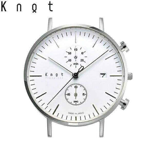 "Knot(ノット)""クラシック クロノグラフ""シルバー & ホワイト時計本体のみ(ベルト別売り)腕時計/メンズ/レディース/サファイアガラス/日本製/MADE IN JAPAN/"