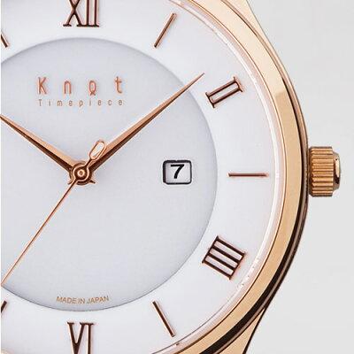 """Knot(ノット)""""クラシックレディースソーラー""""ローズゴールド&ホワイト時計本体のみ(ベルト別売り)ソーラームーブメント/腕時計/レディース/女性向け/サファイアガラス/日本製/MADEINJAPAN/"""