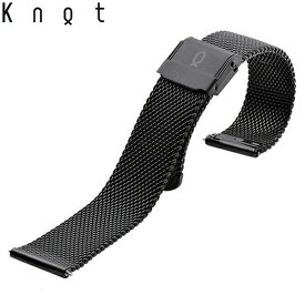 Knot(ノット)ミラネーゼ メッシュベルト 時計ベルト 18mmブラックベルトのみ購入はメール便のため代引き・着日指定・包装は不可スペアベルト/ご自分でサイズ調整可能なスライド式バックル/ステンレスメッシュ/日本製/
