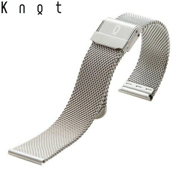 Knot(ノット)ミラネーゼ メッシュベルト 時計ベルト 18mmシルバーベルトのみ購入はメール便のため代引き・着日指定・包装は不可スペアベルト/ご自分でサイズ調整可能なスライド式バックル/ステンレスメッシュ/日本製/