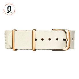 Knot(ノット)栃木レザーベルト NATOタイプ・ホワイトコレクション 時計ベルト 18mmホワイト & ローズゴールドバックルベルトのみ購入はメール便のため代引き・着日指定・包装は不可