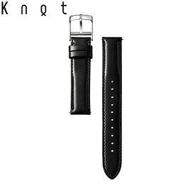 Knot(ノット)プレミアムコードバン ストラップ ロングシェイプ 時計ベルト 18mm ブラック | ベルトのみ購入はメール便のため代引き・着日指定・包装は不可 スペアベルト 日本製 腕時計ストラップ