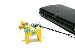 郵便なら送料無料★【GRANNAS】ダーラナホース 北欧 木製 スマホ 携帯 ストラップ イエロー 黄色 かわいい 北欧雑貨