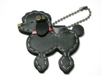 皮革包迷人皮革制造钥匙圈(黑色长卷毛狗)