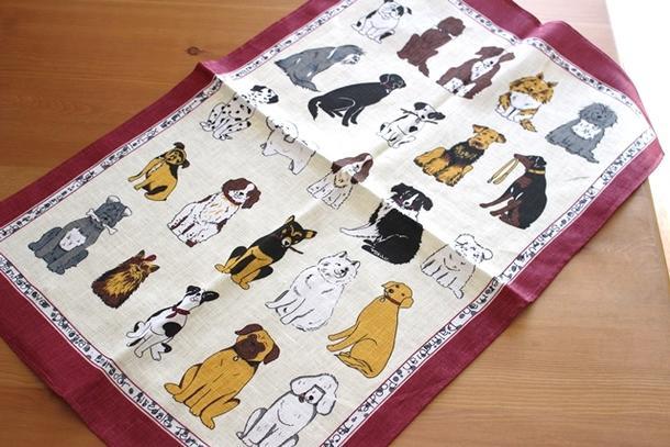アルスターウィーバーズ お座りの犬 レッド キッチンタオル 干支 戌年 ティータオル リネン 麻 タペストリー 飾り 000DGA