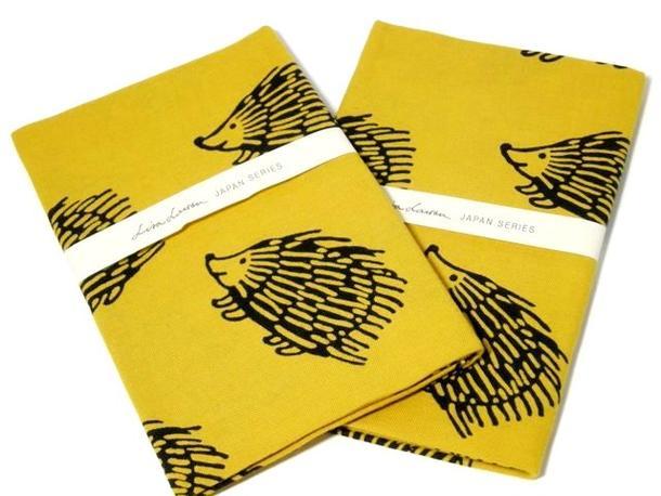 【Lisa Larson】リサラーソン 注染てぬぐい ハリネズミ(イエロー 黄色) 日本製 ☆ 手ぬぐい 北欧 雑貨