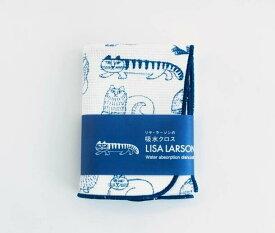 発送は郵便で! Lisa Larson リサラーソン 吸水クロス スケッチのねこ ネイビー&ホワイト 猫 ネコ 可愛い キッチンワイプ 吸水タオル 布巾 ふきん 布きん フキン キッチンクロス キッチン雑貨 日本製 北欧雑貨