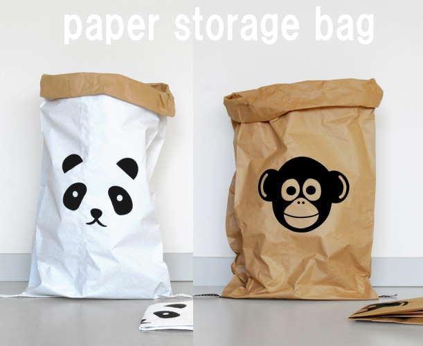 kolor カラー paper bag ペーパーバッグ (動物シリーズ - ネコ モンキー アザラシ)収納 片付け おもちゃ入れ インテリア収納袋 収納紙袋 ストレージバッグ