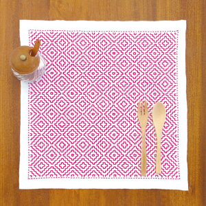 オリムパス 刺し子キット 一目刺しの花ふきん 柿の花(白)