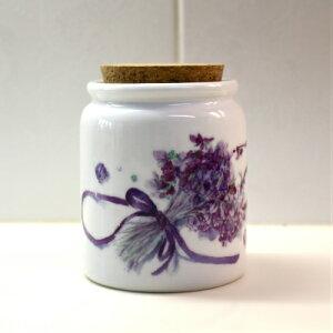 キャンディーポット リボンとコスミレ 磁器 水彩画 花の絵 スミレ 菫 すみれ 植物画 ボタニカルアート