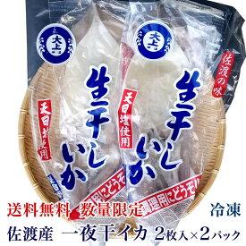 【送料無料】佐渡産 一夜干イカ 2枚入×2パック【数量限定】