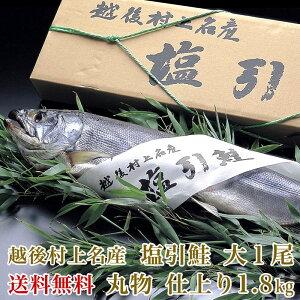 越後村上名産塩引鮭中1尾丸物仕上り1.8kg