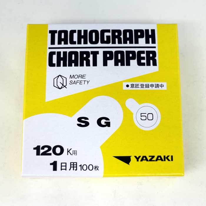 チャート紙 SG120K1日用 50Km/h 赤実線[矢崎総業]