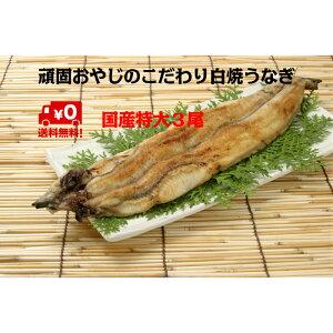 頑固おやじの白焼きうなぎ 特大3尾 愛知県産 わさび醤油で食す お鍋にも < 鰻 丑の日 土用の丑の日 >