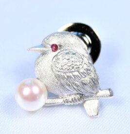 パールブローチ(鳥止まり木)男女兼用:日本産アコヤパール6−6.5ミリ  (パールブローチ、真珠ブローチ、シルバーブローチ、あこやブローチ、動物ブローチ、ラペルピン、真珠、アコヤパール、真珠、あこや真珠、ブローチ)
