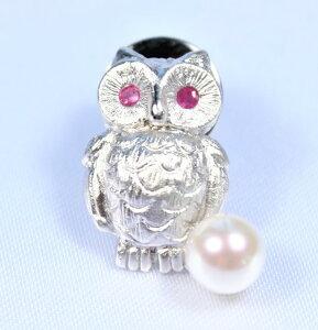 パールブローチ(フクロウ)男女兼用:日本産あこや真珠6−6.5ミリ  (パールブローチ、真珠ブローチ、シルバーブローチ、あこやブローチ、動物ブローチ、アコヤパール、パール、真珠、あ