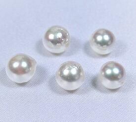 【送料無料】真珠量り売り!日本産あこや真珠ルース(両穴珠):8ミリ珠 (あこや真珠ルース、アコヤ真珠ルース、手芸用ルース、パールルース、ルース、パール、真珠ルース)