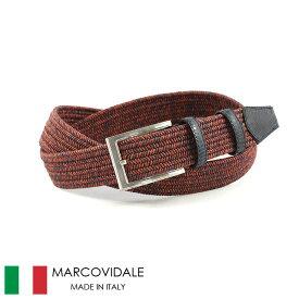〈MARCOVIDALE マルコヴィダーレ〉エラスティックゴム メッシュベルト レッド イタリア製