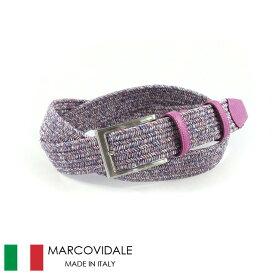 〈MARCOVIDALE マルコヴィダーレ〉エラスティックゴム メッシュベルト パープル イタリア製
