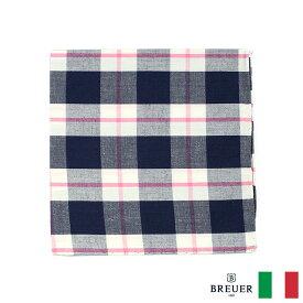 〈BREUER ブリューワー〉コットン100% ポケットチーフ チェック ネイビー ピンク イタリア製