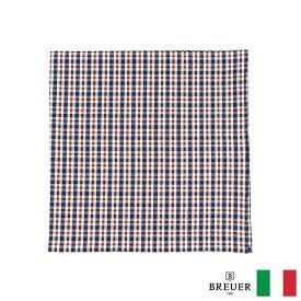 〈BREUER ブリューワー〉コットン100% ポケットチーフ チェック ブルー レッド イタリア製
