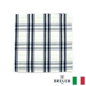 〈BREUER ブリューワー〉コットン100% ポケットチーフ チェック ホワイト ネイビー イタリア製