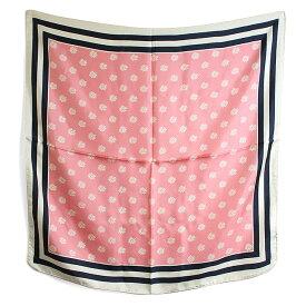 〈BREUER ブリューワー〉 シルク100% スカーフ 花柄 フラワー ピンク イタリア製 MADE IN ITALY