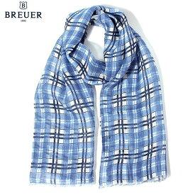 〈BREUER ブリューワー〉 リネン100% チェック ブルー イタリア製 MADE IN ITALY