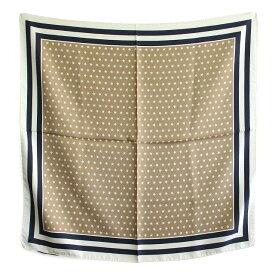 〈BREUER ブリューワー〉 シルク100% スカーフ STAR 星柄 ベージュ ネイビー イタリア製 MADE IN ITALY