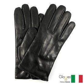 〈Gloves グローブス〉ラムレザーグローブ カシミア イタリア製 ブラック 定番デザイン プレゼント