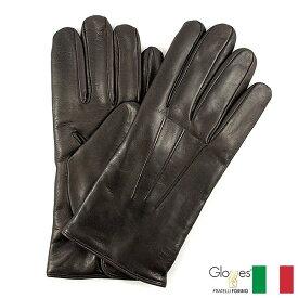 〈Gloves グローブス〉ラムレザーグローブ カシミア イタリア製 ブラウン 定番デザイン プレゼント