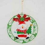 【在庫処分お宝セール】ブリキクリスマスリーススノーマン【クリスマスハンギング/クリスマス雑貨】
