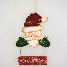 【在庫処分お宝セール】ウッドメリークリスマスサンタハンドハンギング【クリスマス/クリスマス雑貨】
