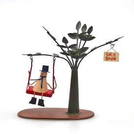 【在庫処分お宝セール】ブリキブランコスノーマン【クリスマス置物/クリスマス雑貨】
