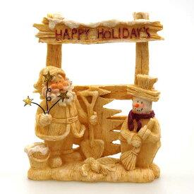 【在庫処分お宝セール】レジンクリスマスサンタスノーマンスタンド【クリスマス雑貨/クリスマス置物】