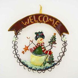 【在庫処分お宝セール】ブリキクリスマスリース スノーマン【クリスマスリース/クリスマス雑貨】