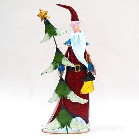 【在庫処分お宝セール】ブリキスリムサンタスタンド【クリスマス置物/クリスマス雑貨】